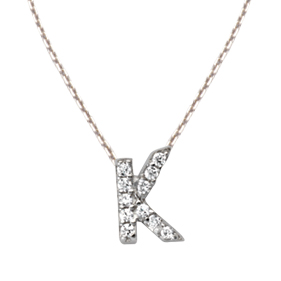 Sterling Silver Cubic Zirconia Mini Block K Necklace