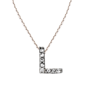 Sterling Silver Cubic Zirconia Mini Block L Necklace