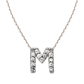 Sterling Silver Cubic Zirconia Mini Block M Necklace