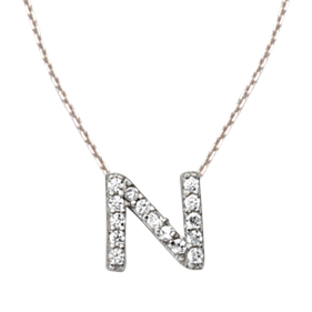 Sterling Silver Cubic Zirconia Mini Block N Necklace