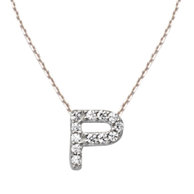 Sterling Silver Cubic Zirconia Mini Block P Necklace