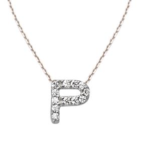 Sterling Silver Cubic Zirconia Mini Block P Necklace