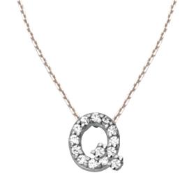 Sterling Silver Cubic Zirconia Mini Block Q Necklace