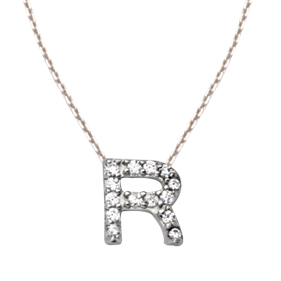 Sterling Silver Cubic Zirconia Mini Block R Necklace