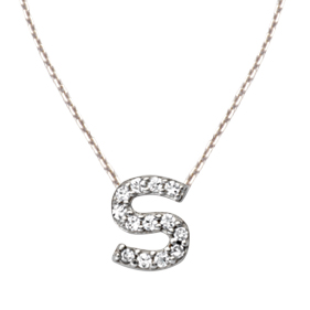 Sterling Silver Cubic Zirconia Mini Block S Necklace