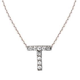 Sterling Silver Cubic Zirconia Mini Block T Necklace