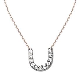 Sterling Silver Cubic Zirconia Mini Block U Necklace