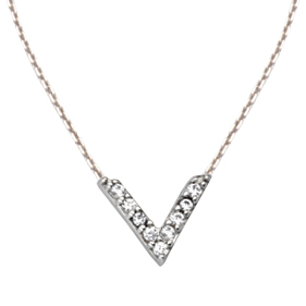 Sterling Silver Cubic Zirconia Mini Block V Necklace