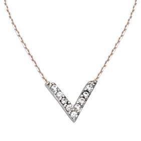 Sterling Silver Cubic Zirconia Mini Block V Necklace