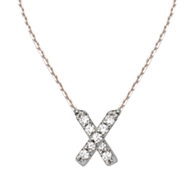 Sterling Silver Cubic Zirconia Mini Block X Necklace
