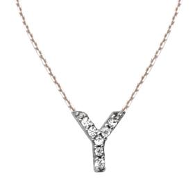 Sterling Silver Cubic Zirconia Mini Block Y Necklace