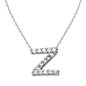Sterling Silver Cubic Zirconia Mini Block Z Necklace