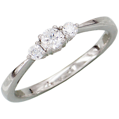 14kt White Gold 1/4 ct Diamond 3-Stone Ring