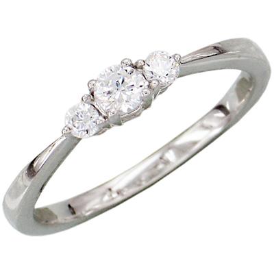 1/4 ct 14kt White Gold Diamond 3-Stone Ring