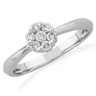 1/4 ct 14kt White Gold Diamond Cluster Ring