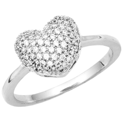 1/4 ct Sterling Silver Diamond Pave Heart Ring
