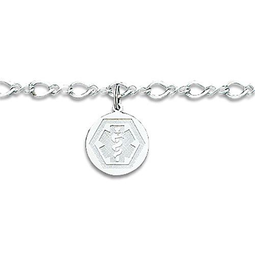Medical Dangle Bracelet 7in - Sterling Silver