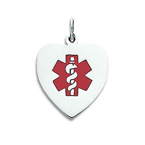 Enamel Medical Heart Pendant 11/16in - Sterling Silver