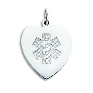Medical Heart Pendant 11/16in - Sterling Silver