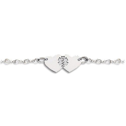 Sterling Silver 9in Heart Medical Anklet