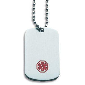 Medical Dog Tag and 26in Chain - Stainless Steel