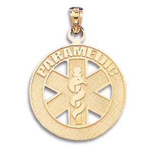 10kt Yellow Gold 7/8in Paramedic Pendant