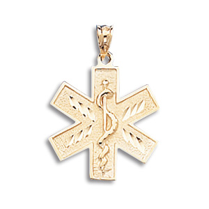 10kt Yellow Gold 3/4in Paramedic Caduceus Pendant