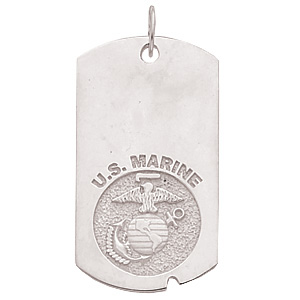 1 5/8in US Marine Corps Dog Tag - Sterling Silver
