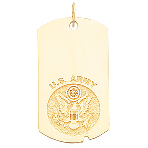 10kt Yellow Gold 1 5/8in U.S. Army Dog Tag