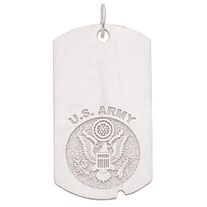 1 5/8in U.S. Army Dog Tag - Sterling Silver