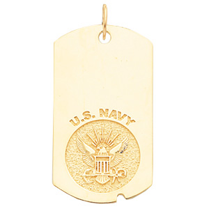 1 5/8in U.S. Navy Dog Tag - 14k Yellow Gold