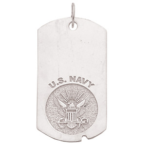 1 5/8in U.S. Navy Dog Tag - Sterling Silver