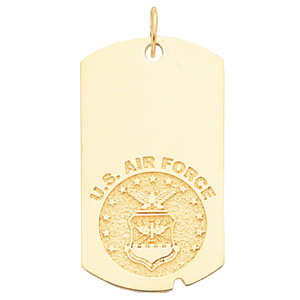 1 5/8in U.S. Air Force Dog Tag - 10k Yellow Gold