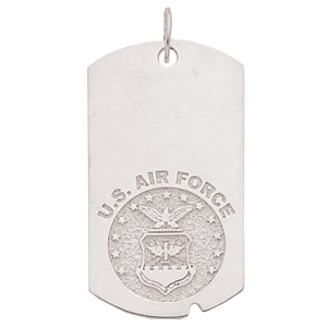 Sterling Silver 1 5/8in U.S. Air Force Dog Tag