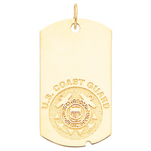 1 5/8in U.S. Coast Guard Dog Tag - 10k Yellow Gold