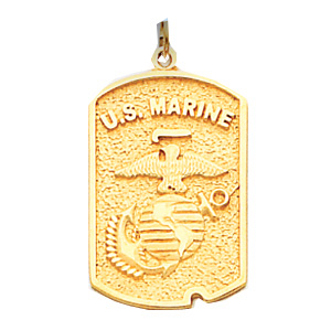 1in US Marine Corps Dog Tag - 14k Yellow Gold