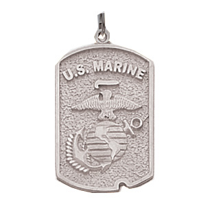 Sterling Silver 1in US Marine Corps Dog Tag