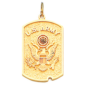 14kt Yellow Gold 1in US Army Dog Tag