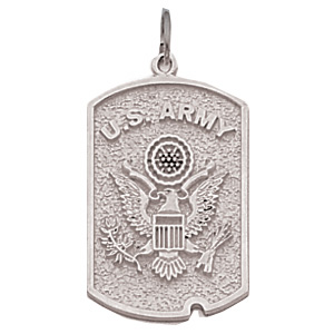 1in US Army Dog Tag - Sterling Silver