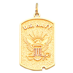 1in US Navy Dog Tag - 14k Yellow Gold