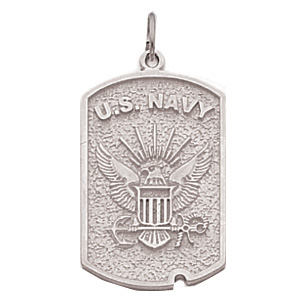 1in US Navy Dog Tag - Sterling Silver