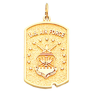 1in US Air Force Dog Tag - 10k Yellow Gold