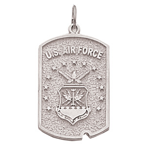 1in US Air Force Dog Tag - Sterling Silver