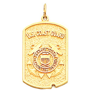 1in US Coast Guard Dog Tag - 14k Yellow Gold
