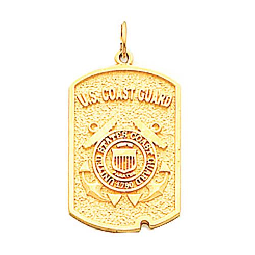 1in US Coast Guard Dog Tag - 14k Yellow Gold