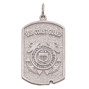 1in US Coast Guard Dog Tag - Sterling Silver