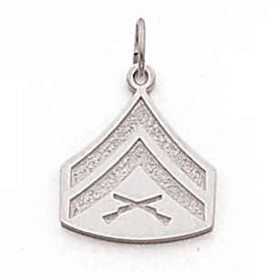 Sterling Silver 5/8in US Marine Corps Corporal Pendant