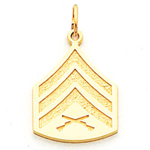 3/4in US Marine Corps Sgt Pendant - 10k Yellow Gold