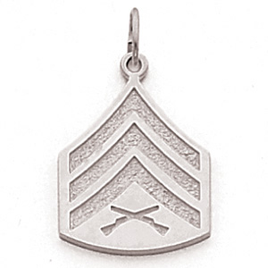 Sterling Silver 3/4in US Marine Corps Sergeant Pendant