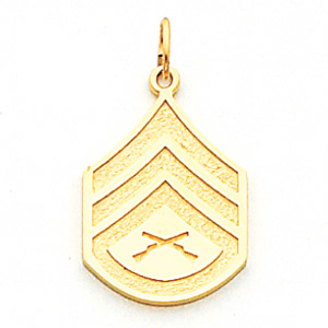 7/8in US Marine Corps SSgt Pendant - 14k Yellow Gold